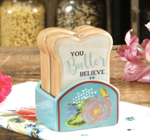 The Pioneer Woman CELIA Toast SALT & PEPPER Shakers SET w/ Holder Base RARE New