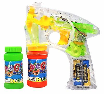 Haktoys Transparent Bubble Shooter Gun W  Led Lights  Extra Bottle   Batteries