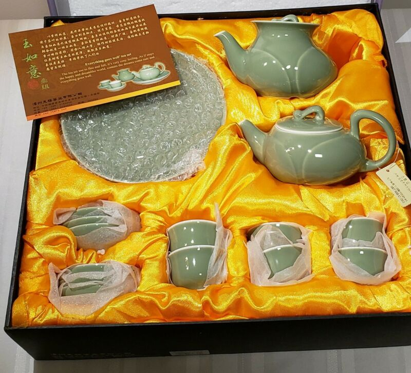 "Vintage Beautiful Asian Porcelain Green ""18pc "" Tea Set in open box"