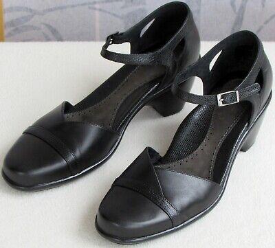 39 | Dansko Women Black Leather Ankle Strap Mary Jane High Heel Open Side Pump Ankle Strap Mary Jane Pump