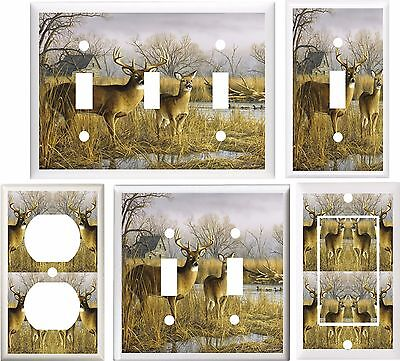 DEER BUCK & DOE WILD LIFE LIGHT SWITCH COVER PLATE OR OUTLET V121