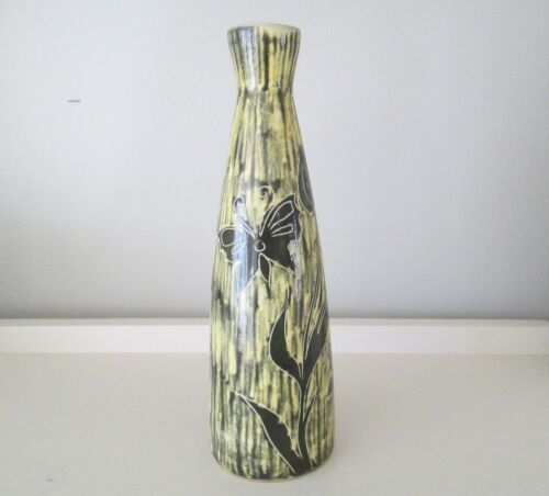 "Vintage Dutch Mid Century De Gats Art Pottery Tulip Vase 9.5"" Sgraffito"