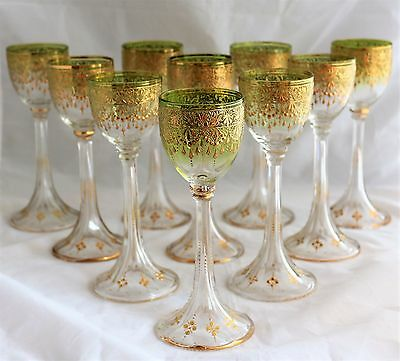 ANTIQUE SET 10 BOHEMIAN MOSER Glass GOLD DECORATED GREEN CRYSTAL GOBLETS CHALICE
