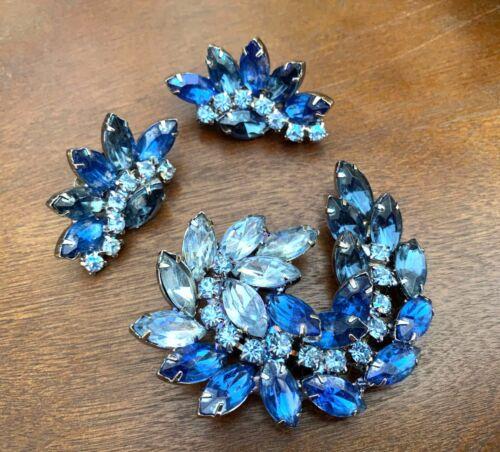 Brooch Earrings Set Blue Rhinestone Vintage