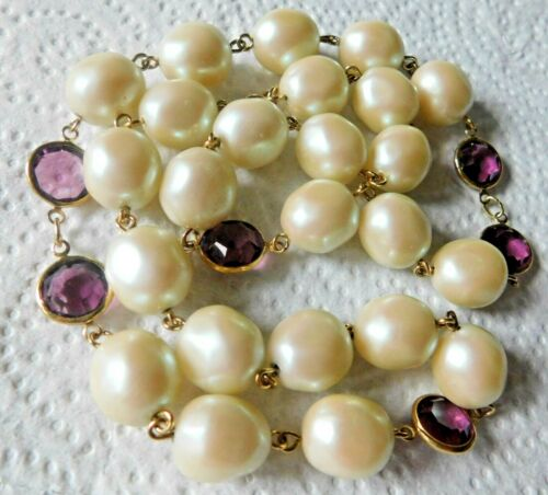 """Necklace Baroque Faux Pearls Amethyst Purple Stones Or Beads 24"""" L Gold Tn Metal"""