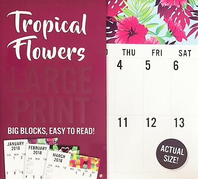 Tropical Flowers LARGE PRINT 2018 Wall Calendar 16 Months