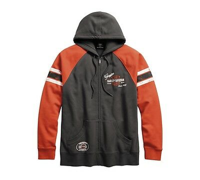 Harley-Davidson Genuine Oil Can Hoodie Sweatshirt Gr. M - Herren, Orange Grau