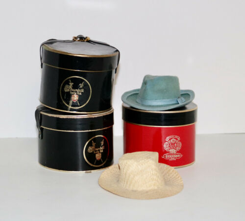 vintage lot set of miniature hats and hat boxes Stevens Know Churchill etc