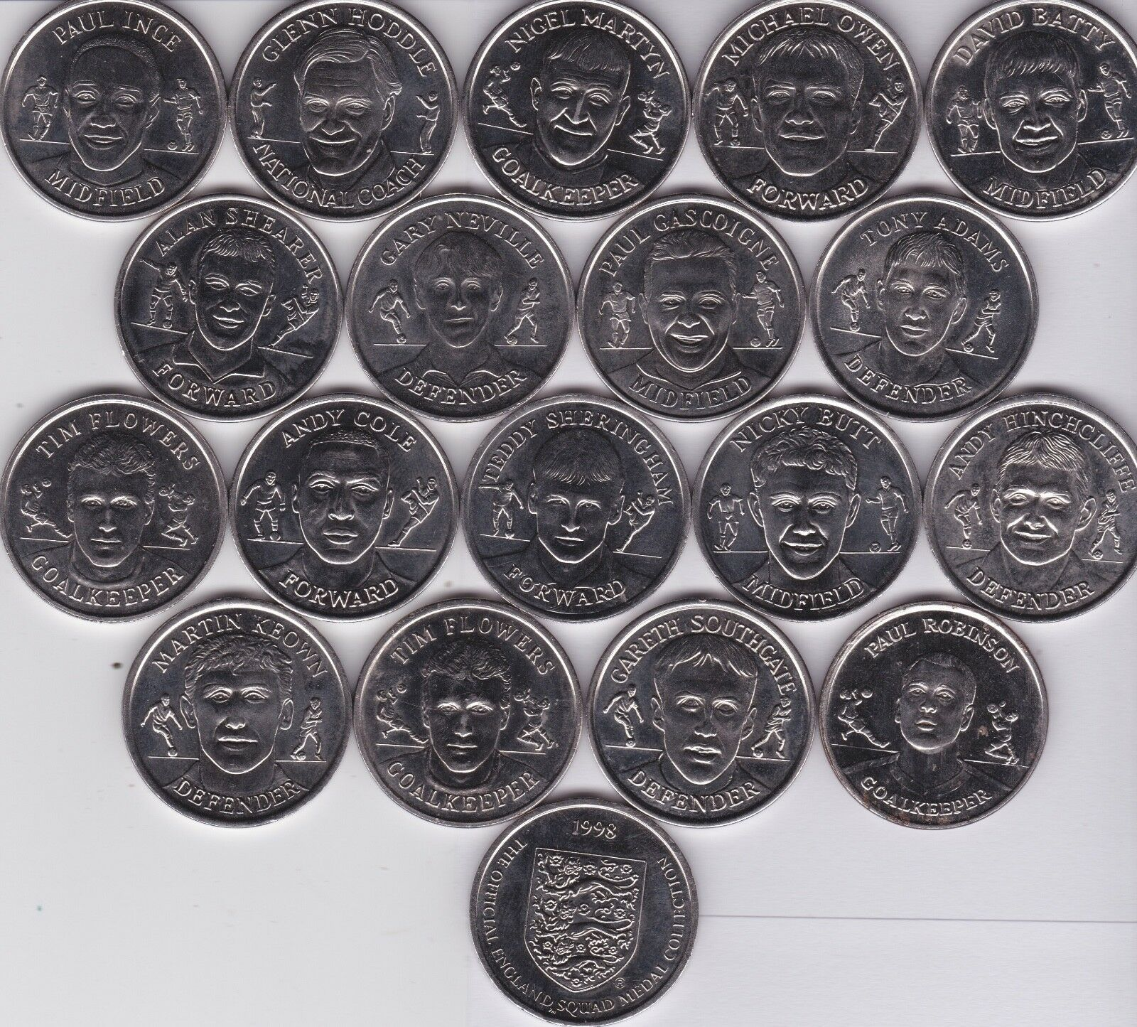 1998 World Cup Collectors Players England Squad Coins Tokens Medallions CHOOSE