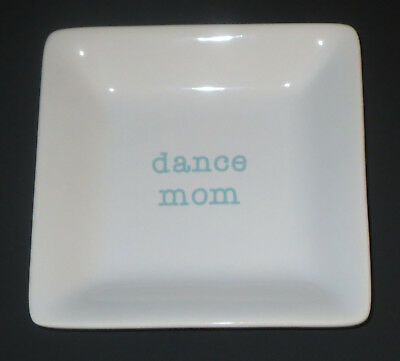 Dance Mom Keepsake Dish Trinket Holder Ceramic White Blue New