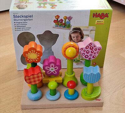 HABA Steckspiel Blumengarten, Holzspielzeug, Baby,Kleinkind Spielzeug, TOP!!