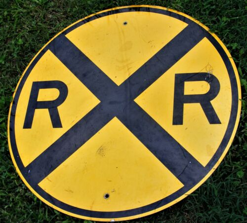 "VTG LARGE 30"" Distressed Railroad Crossing Sign R.R.X. Reflective Aluminum Base"