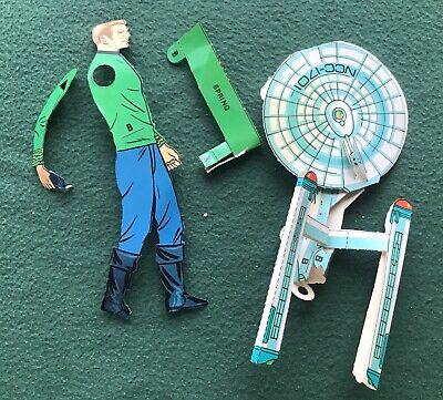 Vintage 1970s Star Trek paper toys Captain Kirk Enterprise parts sci fi TV TOS