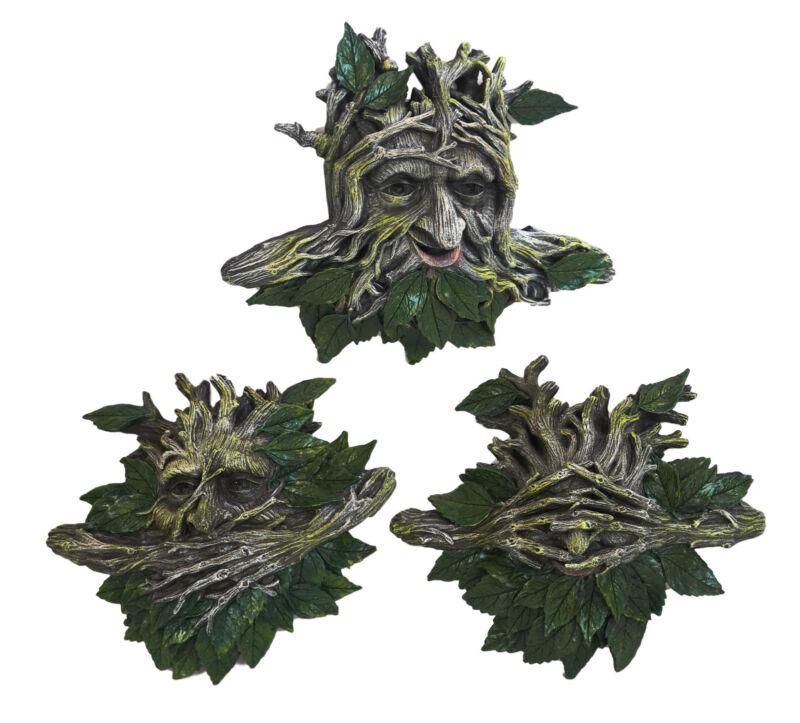 Large Nature Spirit God Celtic Greenman See Hear Speak No Evil Wall Decor Set