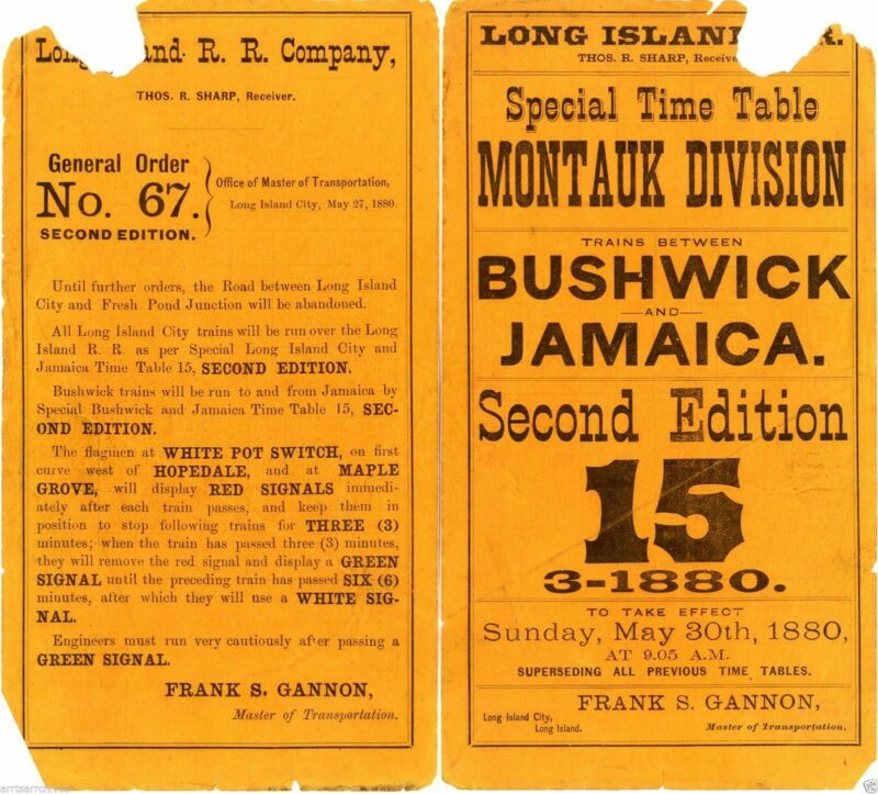 LIRR LONG ISLAND RAIL ROAD 1880 ETT 2nd EDITION No15 ALL TRS BUSHWICK - JAMAICA