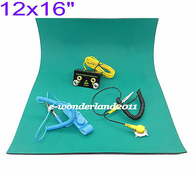 12x16green Desktop Anti Static Esd Grounding Mat Cord Wrist Strap Ground