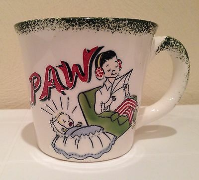 Vintage 1950s Novelty 2-Sided Mug IT'S COFFEE TIME PAW Dad with Baby CUTE!