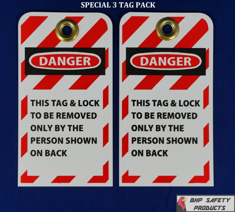 """LOCKOUT TAGS (SPECIAL 3 PACK) W/ 3/8"""" BRASS GROMMET SAFETY LOCKOUT TAGOUT"""