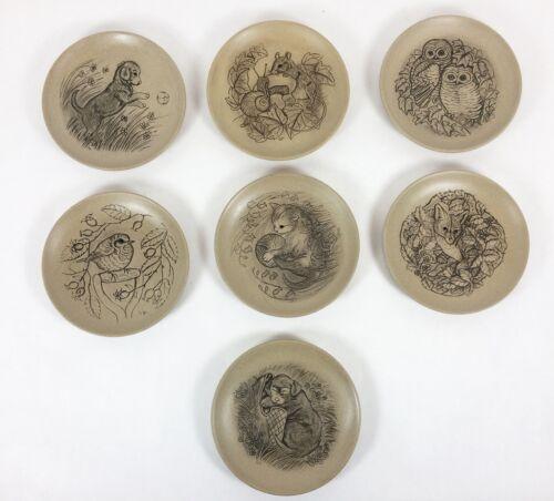 "Poole England Pottery Stoneware Set of 7 Barbara Linley Adams 5"" Animal Plates"