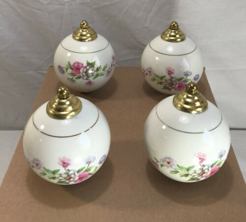 Porcelain painted Finials for Brass Bed with Matching Caps and Hardware Set of 4