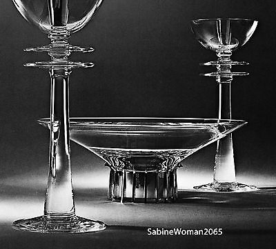 RARE STEUBEN glass TALL CANDLESTICK PAIR ornament crystal STERLING SILVER NIB