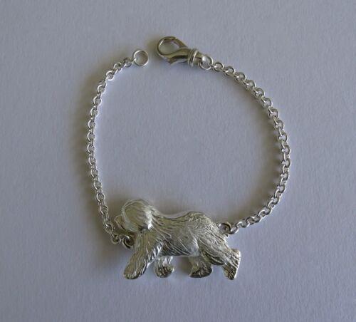 Large Sterling Silver Old English Sheepdog Moving Study Bracelet