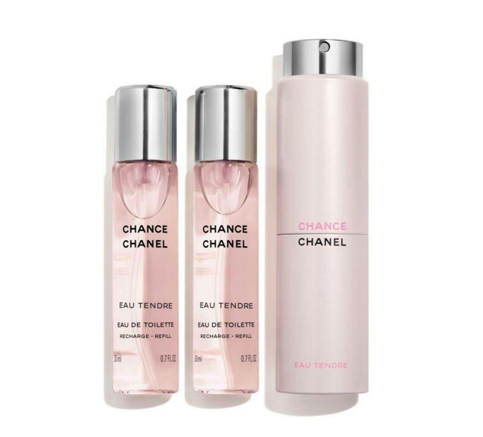 CHANEL CHANCE EAU TENDRE EDT Twist Purse Spray Travel Set Refills 3 X 07OZ