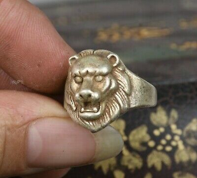 28CM Old Chinese Miao Silver Lion Head Beast Jewellery Hand Ring