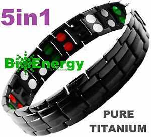 TITANIUM Magnetic Energy Germanium Armband  Power Bracelet Health Bio 5in1 Bio