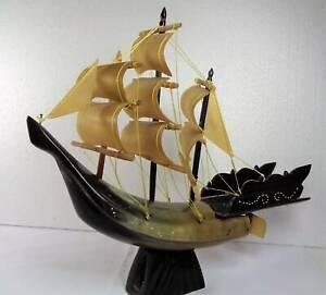 Vintage Horn Sailing Boat Ornament