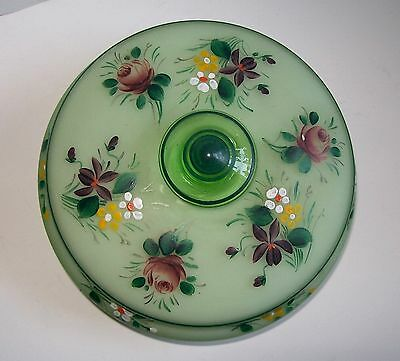 Handpainted Cased Green Glass Bowl & Lid Damaged