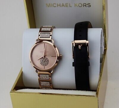 NEW AUTHENTIC MICHAEL KORS PORTIA CRYSTALS ROSE GOLD WOMEN'S MK2776 WATCH SET
