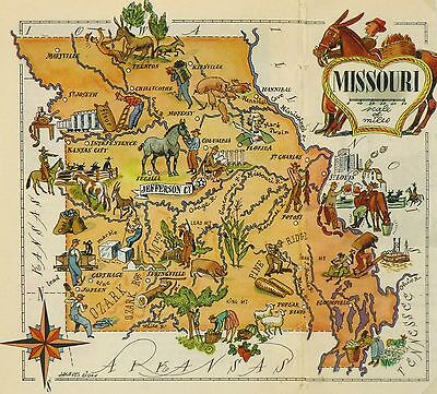 Missouri Antique Vintage Pictorial Map