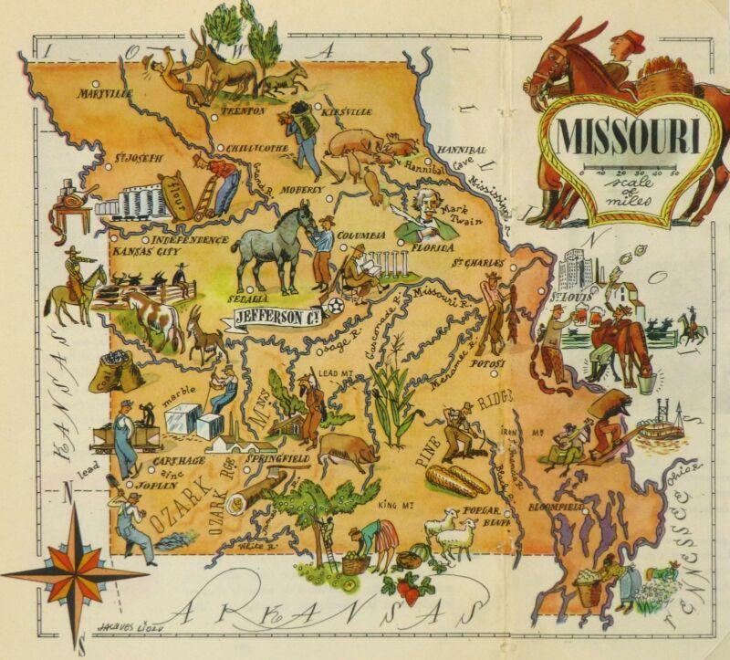 Missouri Antique Vintage Pictorial Map  (Postcard size)