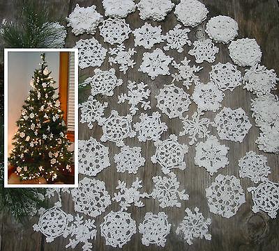 Christmas Snowflakes (30 Hand Crochet  Wht Christmas Snowflakes Motifs Doilies Ornaments 3