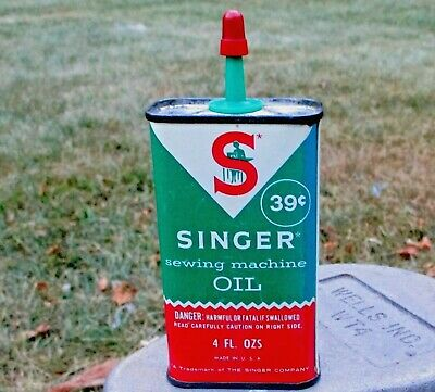 Vintage Singer Sewing Machine Oil Handy Oiler Advertising Tin Display Can