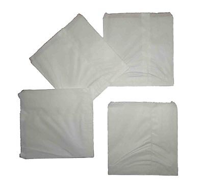 100 Strung Plain White Paper Bags Food Use 152mm x 190mm (6'' x 7.50'' Inches)