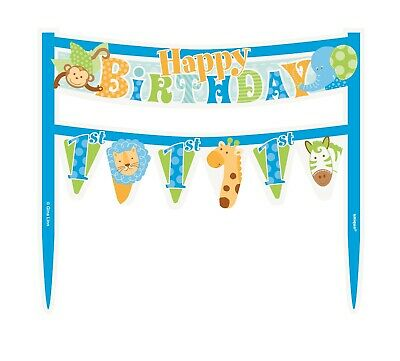 1st Birthday Blue Cake Banner Safari Elephant Monkey Lion First Party Supply