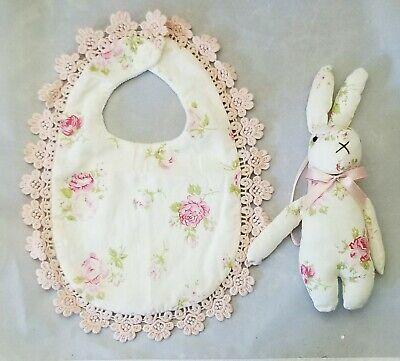 Flower Rose Baby Bib Bunny Toy Lace White Pink Girl Shower Gift Set 2 Handmade (Rose Burp Cloth Set)