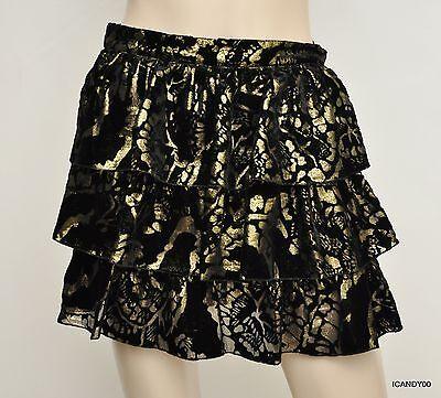 Nwt $396 Alice + Olivia Silk Blend Metallic Tiered Ruffle Mini Skirt Black 4