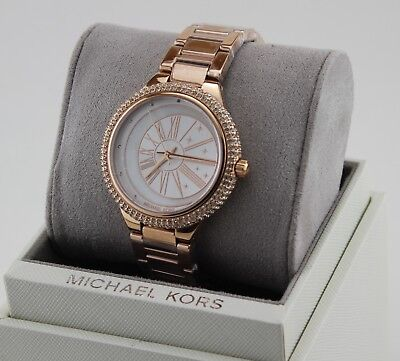 NEW AUTHENTIC MICHAEL KORS TARYN CRYSTALS ROSE GOLD MOP WOMEN'S MK6551 WATCH