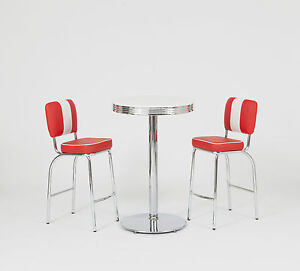 american diner furniture 50s style retro bistro table and 2 red chairs