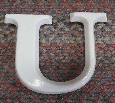 Vtg  White Plastic Hanging Letter U Store Sign Spell Out Alphabet 8 3 4  Capital