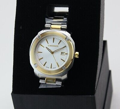 NEW AUTHENTIC WENGER EDGE INDEX SWISS ARMY GOLD SILVER 01.1141.115 MEN'S WATCH