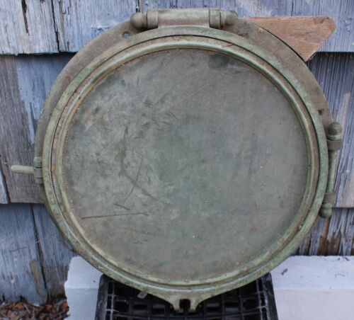 Large Original Antique SOLID BRASS Maritime Ship PORTHOLE 19 ½ inch diameter WOW