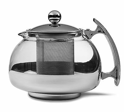 Chef's Star Premium Glass Tea Pot & Infuser - Stainless Steel 25 oz