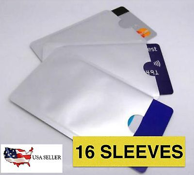 16 PACK HIGH LEVEL RFID Blocking Credit Card Sleeve Protector Shield WaterProof
