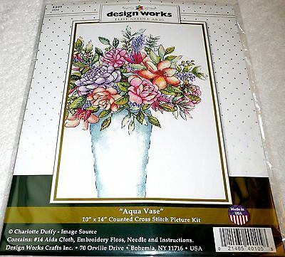 Design Works Counted Cross Stitch Picture Kit AQUA VASE Flowers
