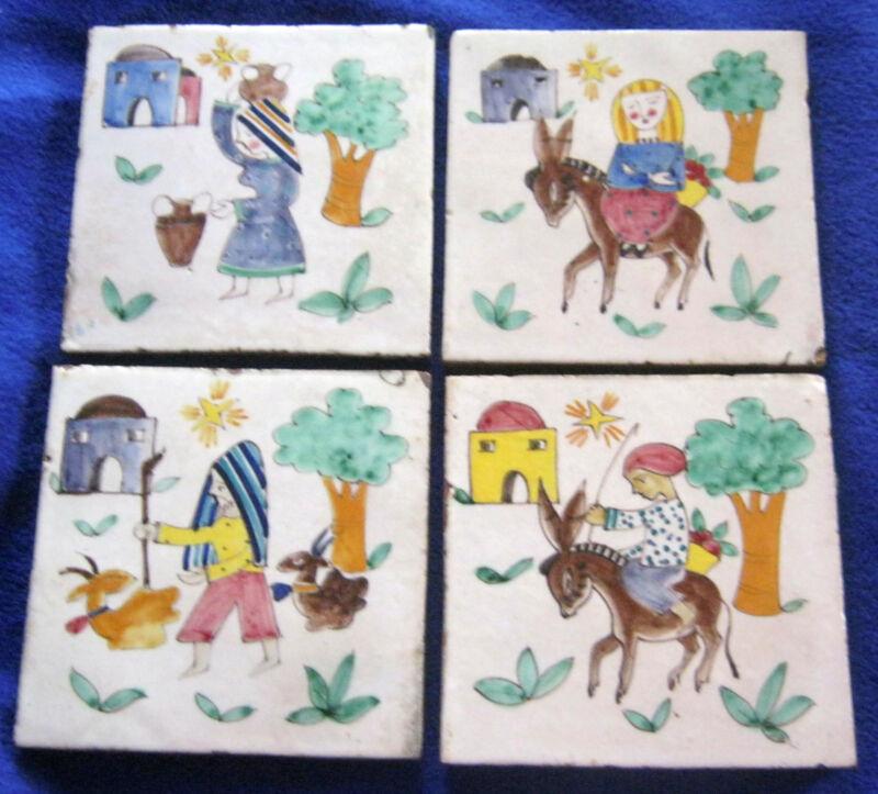 "Tiles Antique Italy Figural Tile for Mural 6"" x 6"" x 3/4"" Vintage Art Pottery"