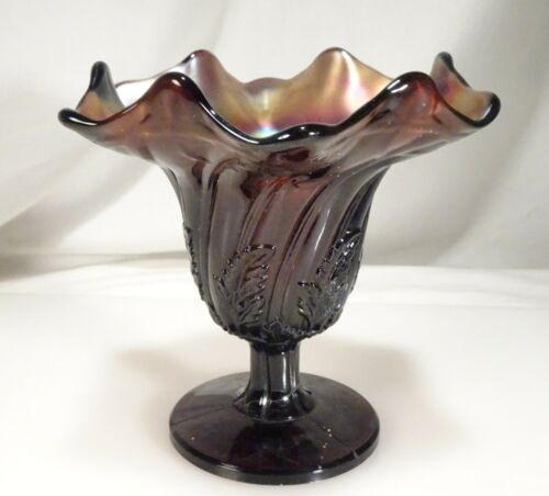 Westmoreland Leaf Swirl Amethyst Purple Carnival Glass Compote  -  59264